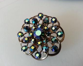 Rhinestone pin brooch Vintage jewelry sweater pin  Blue green jewlery flower pin Blue pin