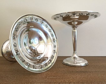 2 Sterling Silver Compotes by Matthews Company; Pair of American Sterling Weighted Compotes; Silver Pedestal Compote Dish