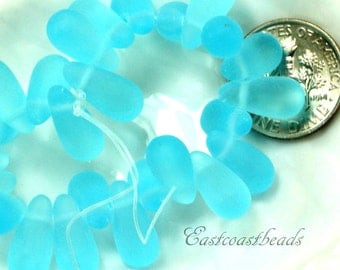 Teardrop Beads, Sea Glass Style, Side Drilled, Turquoise Blue Sea Glass Finish, 13 x 6 mm Tear Drop Beads, 25 Pieces