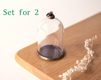 DIY 38mm Bell jar pendant set, Hollow Glass, Necklace pendant, set for two