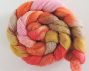 merino nylon,Rainbow No.282, Sock blend top,handpainted fiber for spinning,ca.3,5oz