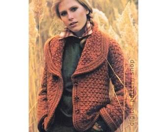 Knitting Pattern Womens Sweater Coat Pattern Knit Button Front Bulky Cardigan Basket Weave Pattern Wide Collar Blazer Instant Download -K89