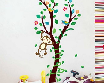 Removable Wall Stickers - Cute Monkey Swinging in a Tree - AW1225