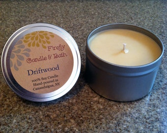 Driftwood - 6 oz. Scented Soy Candle Tin