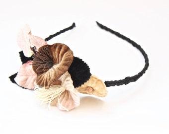 Floral headband. Flower headband. Vintage hair flowers. Bridal headband. Wedding headband. Rustic wedding hair flowers. Velvet hair flowers.
