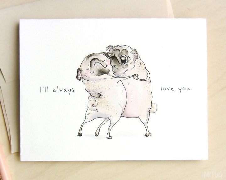 Old Love Valentines Day Card Sweet Valentine Card for – Pug Valentine Cards