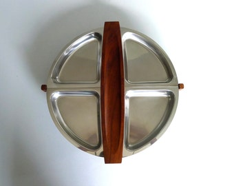 Mid Century Swedish Stainless Steel Lazy Susan Serving Tray