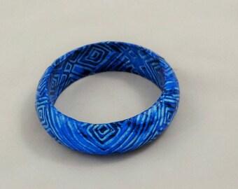 wooden bracelet,  decoupage bracelet, decoupage  jewelry,  wooden jewelry,  blue bracelet,