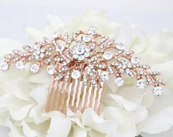 Rose gold bridal hair comb, Wedding hair comb, Rose gold headpiece, Veil comb, Bridal hair accessory, Rhinestone hair comb, Hair clip