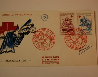 France- Semi Post Red Cross FDC-Scott 347/48-Hard to Find Cover-HI CAT. Value-1960