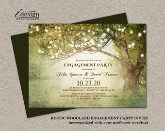 Printable Rustic Woodland Backyard Engagement Party Invitation With String Lights Enchanted Tree | Garden, Country Fairy Lights Engagement