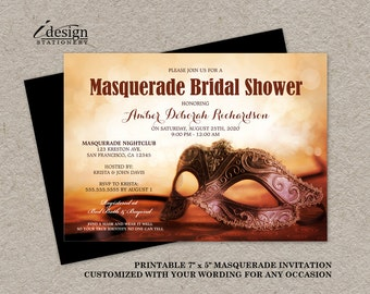 Masquerade Bridal Shower Invitation | Printable Mardi Gras Themed Wedding Shower Invitations With Mask | Masquerade Party And Ball Invites