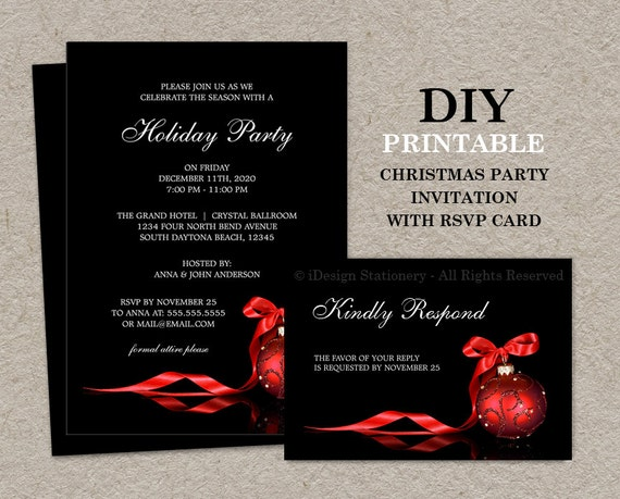 Christmas Invitations With RSVP Cards Printable Holiday