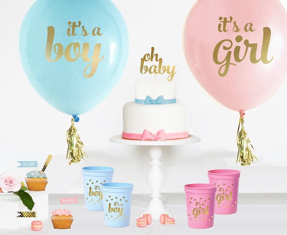 Oh baby it 39 s a girl pink and gold baby shower balloons for It s a girl dekoration