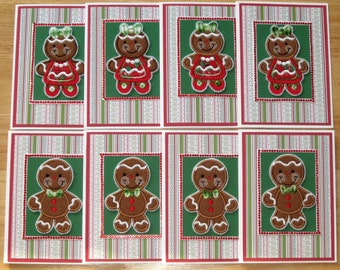 Gingerbread Card Set - Gingerbread Boy Card - Gingerbread Girl Card - Christmas Card Set - Xmas Card Set - Set of Eight (8) Cards