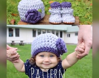 Crochet hat pattern,Hat and Bootie pattern, crochet pattern