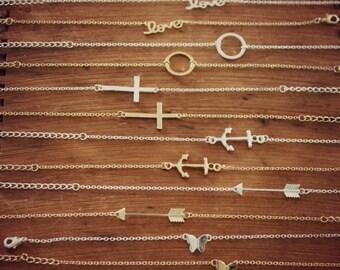 Delicate Layering Bracelet, Love Bracelet, Karma Circle, Friendship Bracelet, Sideways Cross, Sideways Anchor, Sideways Arrow, Butterfly