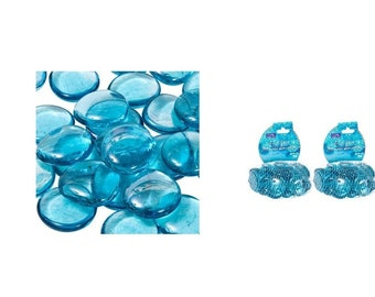 Blue Glass Gems for Wedding Vase Accents and Crafting, Blue Glass Vase Fillers Or Table Scatters For Blue Wedding Theme, Blue Glass Crystals