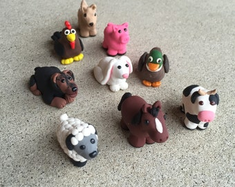 barnyard or jungle miniature mini animal figurines