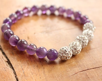 Amethyst gemstone and diamonte beaded bracelet