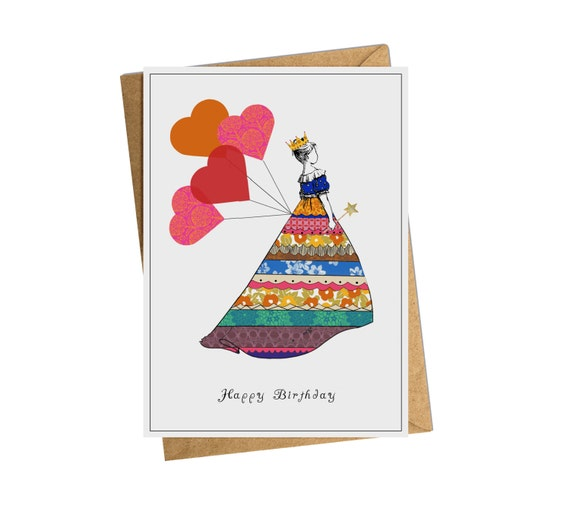 Princess With Heart Balloons Birthday Card