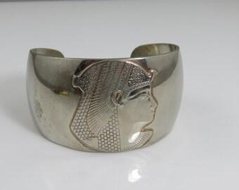 Vintage Silver Plate Egyptian Cuff Bracelet.
