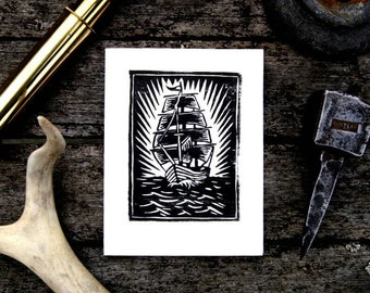 Sailing Ship Block Print Greeting Card