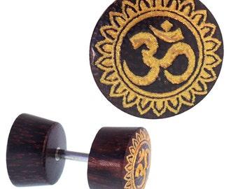 Fake wood plug tamarind dark brown grain OM sign flower edge golden piercing (OHP-179)
