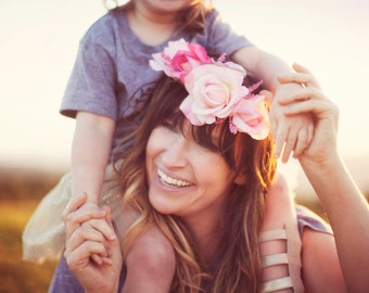 Flower crown / mommy and me crown / mommy and mini crown / boho style flower crown / bohemian hair piece / gypsy crown / floral crown
