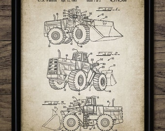 Wheeled Bulldozer Patent Print - 1983 Earth Mover Design - Construction Vehicle - Heavy Equipment - Single Print #1193 - INSTANT DOWNLOAD