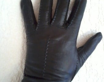vintage gloves in soft leather, black size 7, 71/2
