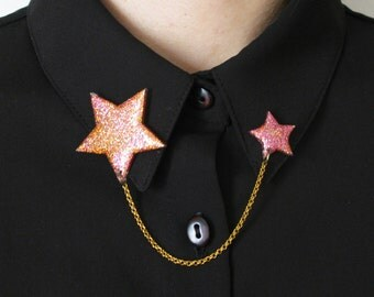 Star Sweater Guards, Orange Pink Sparkle Collar Clips, Mismatched Collar Pins, Glitter Collar Tips, Collar Chain, Galaxy Sweater Clips
