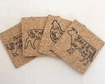 Butcher Cuts of Meat Cork Coaster Set of 4