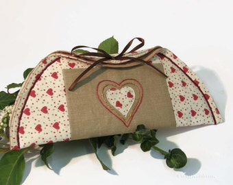 Cosmetic Half Moon Pouch , Pencil Half moon Pouch , Make up Tea cup Pouch , Half moon Case , Half Moon Storage Pouch , Linen and Heart Pouch