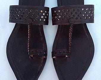 Royal Look Dark Brown Handmade Leather Sandal