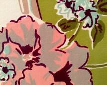 "1960's Mid Century Cotton Rayon Tablecloth- Tropical Flowers, Hawaiian, Tiki, 45"" X 50"""