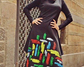 Handmade Painted Maxi Dress TDK208, Extravagant Loose Black Dress, Cotton Fleece Maxi Dress