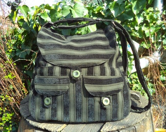 Black and olive striped,buttoned big bag
