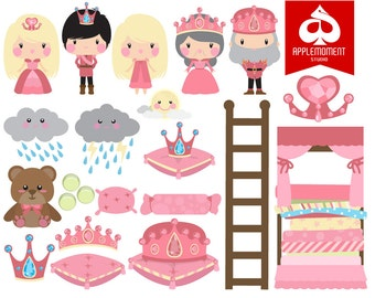 Princess and The Pea Digital Clipart for Personal and Commercial Use