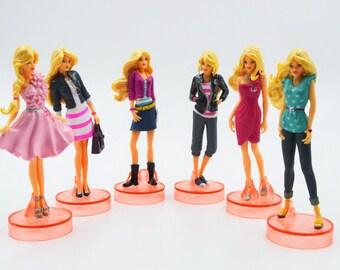 "Barbie Birthday Cake Topper Large Figurines 6pc Set 3-1/4"" Tall"