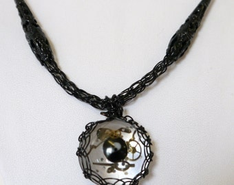 Black lacey Steampunk necklace