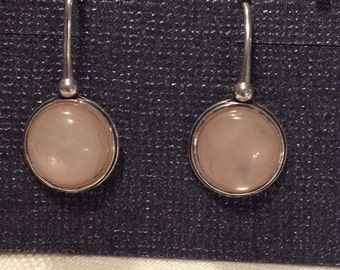 Sterling silver and pink rose quartz drop dangle wire earrings