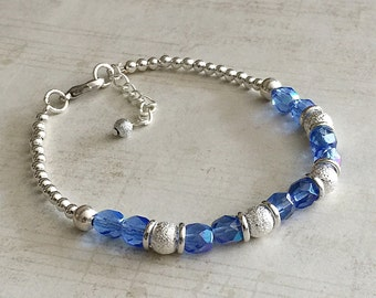 December Birthstone Bracelet, Blue Topaz Bracelet, Blue Zircon Bracelet, Blue Birthstone Bracelet, Topaz December Bracelets, Blue Beaded