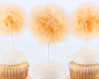 Peachy Orange Tulle Pom- Cupcake topper- Tulle pom - Pom pom- Easter decor-Mother's Day party