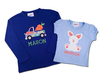Brother Sister Easter Sibling Shirts with Carrot Truck, Girl Bunny and Embroidered Name - M30