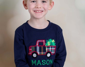 Boy's St Patrick's Day Shirt with Shamrock Truck and Name - M6