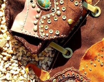 Leather Pocket Belt with Gemstone
