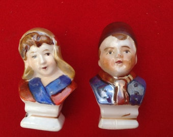 Vintage dutch boy and girl bust head salt and pepper shakers OCCUPIED JAPAN