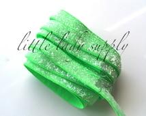 "Neon Green Frosted Glitter Elastic 3/8"", wholesale, glitter, headbands, elastic, ribbon"