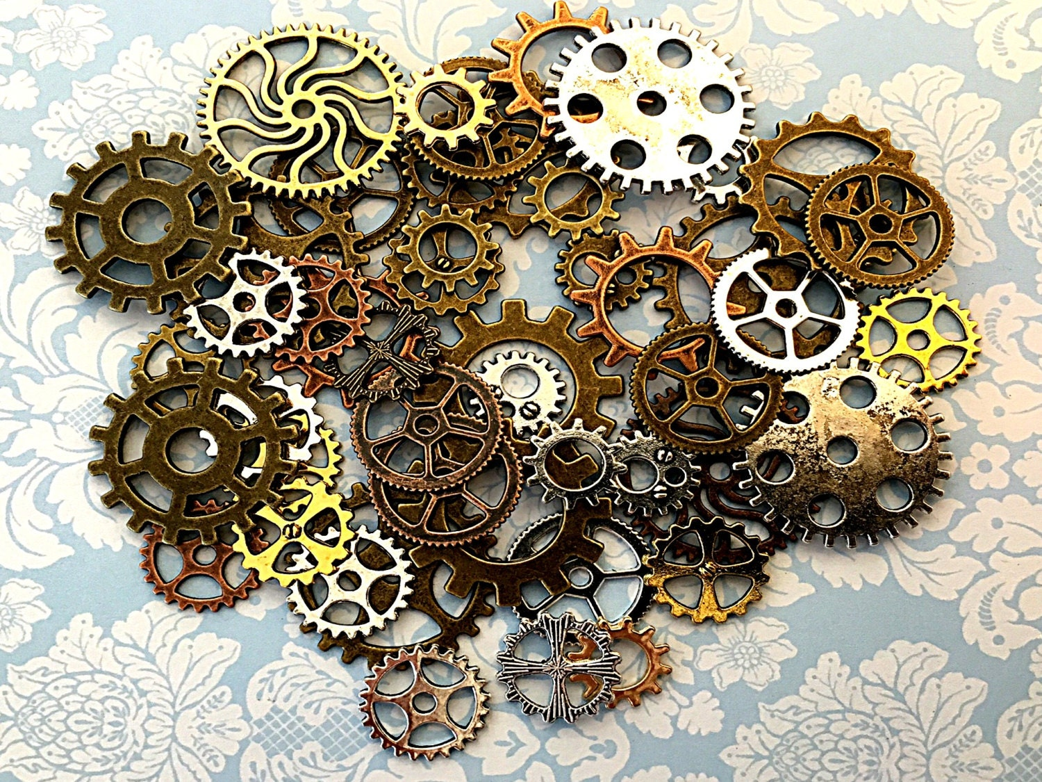 160 steampunk gears cogs buttons watch parts altered art for Steampunk arts and crafts